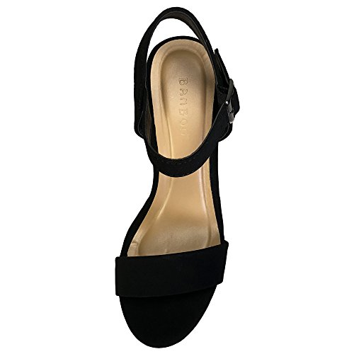Bamboo Womens One Band Chunky Heel Platform Sandal With Quarter Strap Black Nubuck Pu 0wTtdPz8