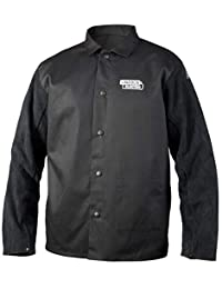Lincoln Electric K3106-M Traditional Split Leather Sleeved Welding Jacket, Medium, Black