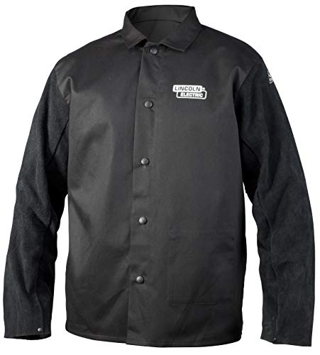 Lincoln Electric Split Leather Sleeved Welding Jacket | Premium Flame Resistant Cotton Body | Black | 2XL | ()