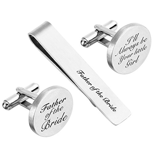 (ZUNON Father of The Bride Cufflink Engraved I'll Always Be Your Little Girl Tie Clip Tack (Father of The Bride Cufflinks and tie Clip))