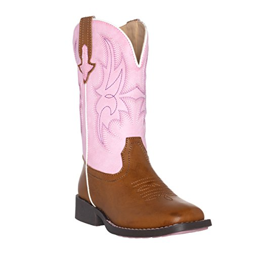 Children Western Kids Cowboy Boot | Austin Pink Brown Square Toe for Girls by Silver Canyon ()