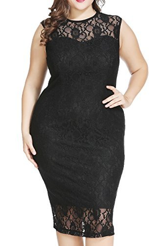 Plus Size Formal Lace Sheath Midi Dress for Cocktail Evening Wedding Party Work Black, 16W
