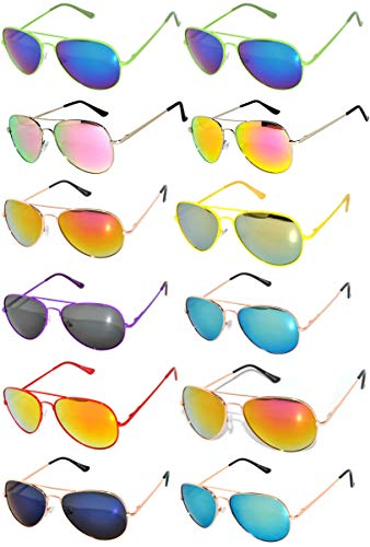 12 Pairs Classic Aviator Sunglasses Metal Gold Silver Frame Mix Colored Mirror Lens OWL (Mix-Spring-Hinge-Colored-Frame-Mirror-12pairs, Colored) ()