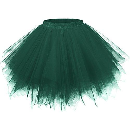 Girstunm Women's 1950s Vintage Petticoats Bubble Tutu Dance Half Slip Skirt Dark Green L/XL -