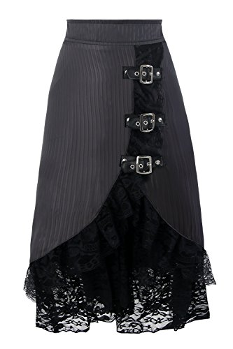 Charmian Women's Steampunk Gothic Vintage Victorian Gypsy Hippie Lace Party Skirt with Buckles Gray Medium ()