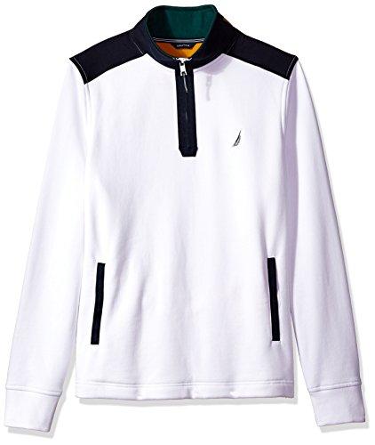 (Nautica Men's Standard Long Sleeve Half Zip Mock Neck Colorblocked Sweatshirt, Bright White,)