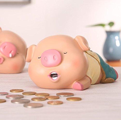 UChic 1PCS Cute Cartoon Resin Piggy Bank Adorable Treasure Piglet Lying Posture Creative Sleeping Pigs Ornaments Gifts Crafts Style Random