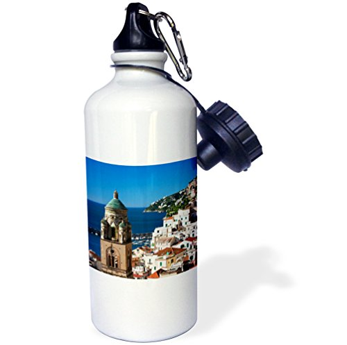 3dRose wb_189251_1'' Italy, Amalfi, Morning Light on the Cathedral of St Andrew Sports Water Bottle, 21 oz, Multicolor by 3dRose