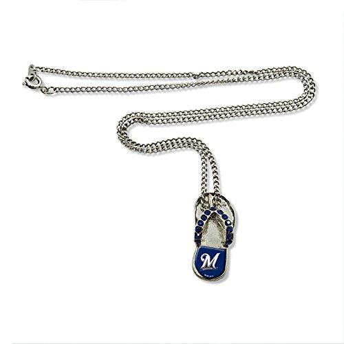 MLB Milwaukee Brewers Crystal Flip Flop (Crystal Mlb Necklace)