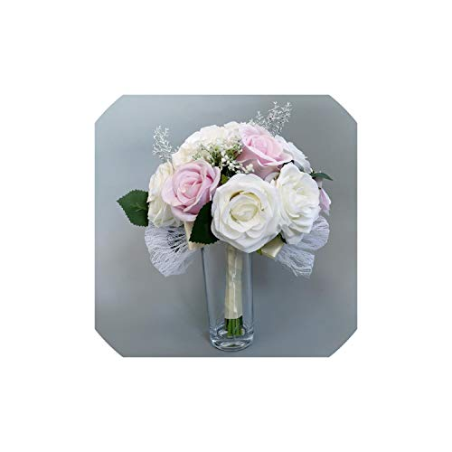 APROUDROSE Handmade Wedding Bride Bouquet Hand Tied Flower Party Supplies Wedding Bouquet Mariage Floral Hoops,Champagne