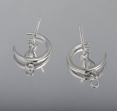 SLeaf-Cat-on-Moon-Stud-Earrings-Sterling-Silver-Crescent-Moon-Cat-Earrings-Cat-Lovers-Gift