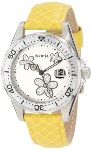 Invicta Women's 12514 Pro-Diver Silver Dial Crystal Accented Flowers Yellow Leather Watch