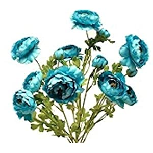 Silk Ranunculus Flowers Turquoise Blue Artificial Wedding Bouquets Centerpieces 46