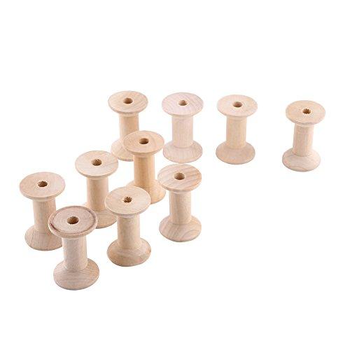 Zerone 10 piezas carretes de hilo de madera vacío 47mm color natural de madera - 31mm