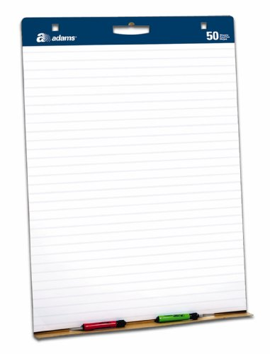Adams Easel Pads, Lined, 35.25 x 27 Inches, White with Blue Lines, 2-Pack (EP927343)