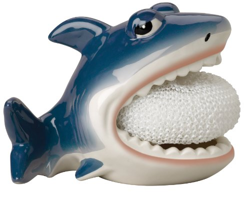 Ceramic Holder (Shark Scrubby Holder & Non-scratch Dish Scrubber, Hand Painted Ceramic by Boston Warehouse)