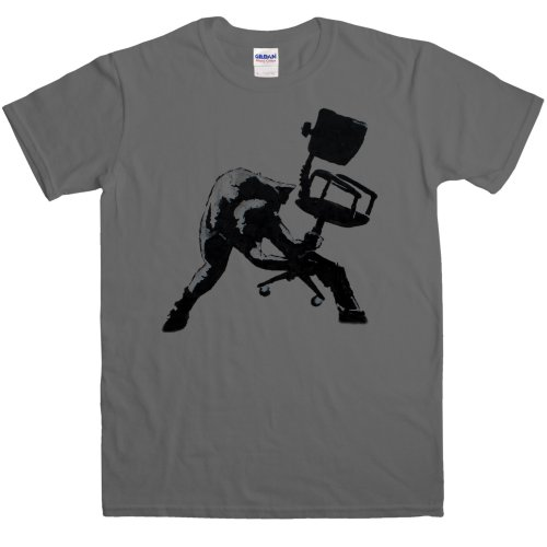 Best Ferdinand Chairs - Mens Banksy T Shirt - Office Chair Clash - Charcoal - X-Large