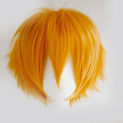 S-noilite Unisex Short Cosplay Hair Wig Girls Boys Fluffy Straight Cartoon Anime Party Costume Wigs Light Orange