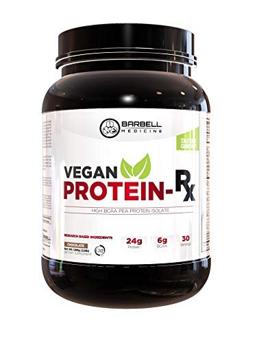 Barbell Medicine, Vegan Pea Protein Isolate Powder, 25g Protein, w/High Essential Amino Acids & 6g of BCAAs (2:1:1 Ratio), GMP, 2.6lbs Tub (Chocolate)