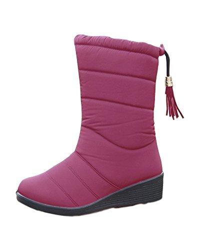 Minetom Damen Plüsch Stiefel mit Hohem Absatz Plateau Quaste Keilabsatz PU Leder Schneestiefel Winterstiefel Wasserdicht Winddicht Schuhe B Weinrot