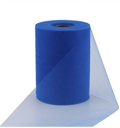 ASIBT 6 Inch x 100 Yards Tulle Roll Spool Fabric Table Runner Chair Sash Bow Tutu Skirt Sewing Crafting Fabric Wedding Party Gift Ribbon (Royal Blue) (Blue Tulle Royal)