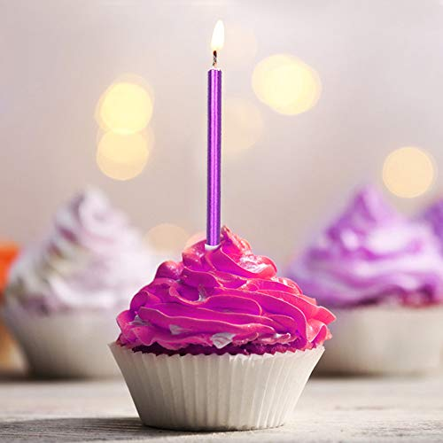 ORIY 12 Pieces Long Thin Purple Birthday Candles in Holders for Birthday Wedding Party Cake Cupcake Decorations -