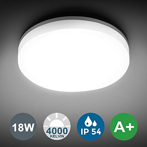 LED Deckenleuchte, SUNZOS 18W Deckenlampe 1530LM 4000K Naturweiß IP54 Wasserdichte Badlampe Lampe für Bad Schlafzimmer Büro Flur Küche Balkon Korridor Esszimmer Wohnzimmer, Ø280mm