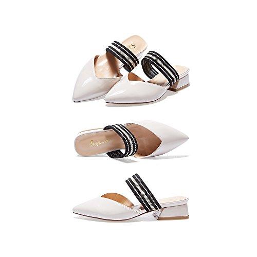 Medio Sandalias Perezosos PU Moda Verano 5 De Boca Zapatos Charol YQQ Baja Planos 3 3CM Zapatos Talón Uk3 Zapatos Zapatos Mujer De Blanca Tamaño De EU36 17wTqI