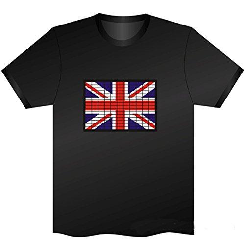Koolertron Fashion Herren und Damen Sommer Sprachsteuerung T Shirt mit Musikinstrumentendruck HIP-HOP runde Krage kurzarm Musikinduktions-T-Shirt Baumwolle schwarz