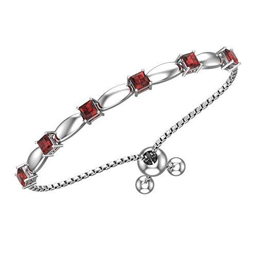 Belinda Jewelz Womens 925 Sterling Silver Sparkling Square Bolo Gemstone Adjustable Tennis Style Pull String Birthstone Jewelry Fine Bracelet, 2.1 Carat Garnet Red, 11 Inch Box Chain