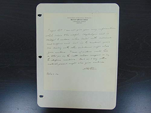 """Discoverer of Creatine Phosphate in Muscles"" Otto Folin Signed Letter Mueller C from Unknown"