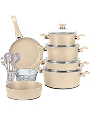 Turkish Granite Cookware Set 18 Pcs Beige Color with Service Set - Pyrex Lids