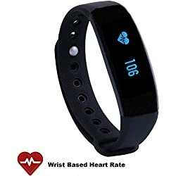 CUBOT V2 Wireless Activity Wristband, Heart Fitness Tracker with a Heart Rate Monitor, Pedometer, Step Counter, Distance Counter, Sleep Monitor for Android and iOS, Black