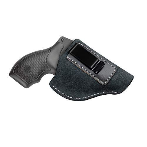 Kosibate IWB Leather Holster, Fits Most J Frame Revolvers - Ruger SP101 LCR/Smith and Wesson Bodyguard/Taurus 50 85 / Charter Arms/Kimber K6s & Most .38 Special Type (Best Snub Nose Revolver For Concealed Carry)