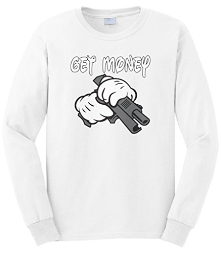 Cybertela Men's Get Money Cartoon Glove Gun Gangster Long Sleeve T-shirt (White, (Long Sleeve T-shirt Gloves)