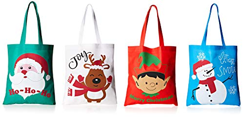 Bulk 24 Christmas Reusable Non-Woven Tote Gift or Shopping Bag Assortment - Large with long loop handles ()