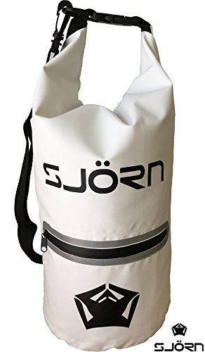 Waterproof Dry Bag by SJORN - Outside Reflective Zip Pocket, Shoulder Strap & Visibility Window. Best for Keeping Gear Dry when Travelling Rafting Boating Kayaking Canoeing Camping Hiking 12L - Wetsuit Australia Brands