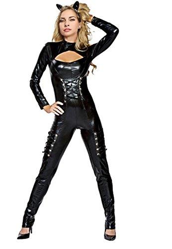 Fashion Queen Women's Sexy Black Catsuit Bodysuit Catwoman Halloween Fancy Dress (One Size, Black) -