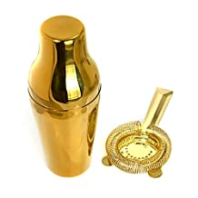 HAPPYNUTS BARWARE Cocktail Shaker Set Include 2-Piece 20-Ounce Cocktail Mixing Shaker and Bar Strainer, Gold