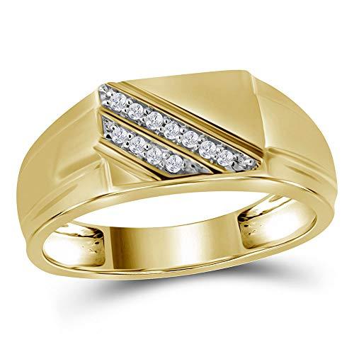 (The Diamond Deal 10kt Yellow Gold Mens Round Diamond Diagonal Row Flat Top Fashion Ring 1/12 Cttw)