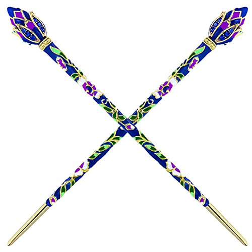 (Fashion & Lifestyle 2 Count Hair Decor Chinese Traditional Style Hair Sticks Shawl Pins Picks Pics Forks for Women Girls Hair Updo Making Accessory 6