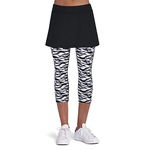 ANIVIVO Tennis Skirted Leggings Women with Pockets Capris Skorts Leggings with Skirts& Women Tennis Tight Pants Sports Skirted Pants Tennis Clothing(Zebra Leggings,M) -
