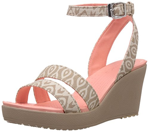 crocs Women's Leigh Graphic W Wedge Sandal, Stucco/Tumbleweed, 8 B(M) US