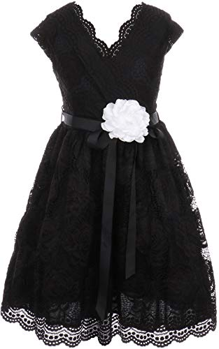 BNY Corner Flower Girl Dress Curly V-Neck Rose Embroidery Allover for Big Girl Black 16 JKS.2066 -