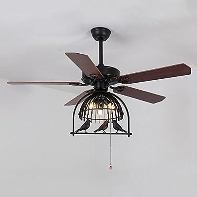 "LITFAD Industrial Fan Antique Black Bronze 48.03"" 3 Lights Pendant Light Vintage Ceiling Light Retro Chandelier with Birdcage Shade"