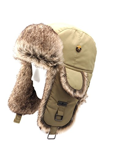 FUR WINTER Taslon Faux Fur Aviator Bomber Trapper Hat KHK L/XL
