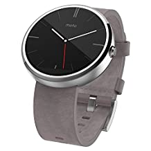 Motorola Moto 360 Stone Gray Leather Smart Watch