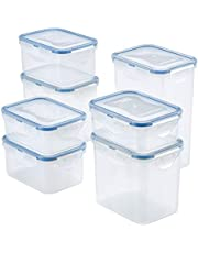 LOCK & LOCK Easy Essentials Food Storage lids/Airtight containers, Clear, 14 Piece - Tall Rectangle, HPL809BS