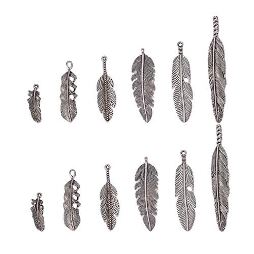 PandaHall Elite 1 Box of About 30pcs Nickel and Lead Free Tibetan Style 6 Kinds Feather Charm Pendant Jewelry Findings Antique Silver