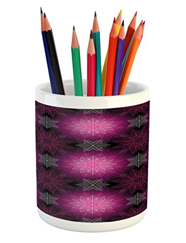 Ambesonne Fractal Pencil Pen Holder, Radiant Fragmented Floral Flower Petals Pattern with Translucent Lotus Artwork, Printed Ceramic Pencil Pen Holder for Desk Office Accessory, Plum - Pen Translucent Violet
